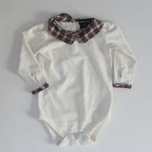 Ralph Lauren Peter Pan Plaid Collar Bodysuit 6-12m
